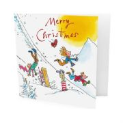 Pack of 10 Quentin Blake Marie Curie Charity Christmas Cards - Falling off Sledge